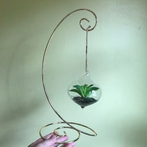 Faux Hanging Succulent Decor with Metal Stand